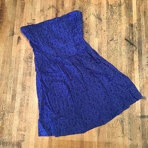 📦 F21 blue strapless dress w/ floral print